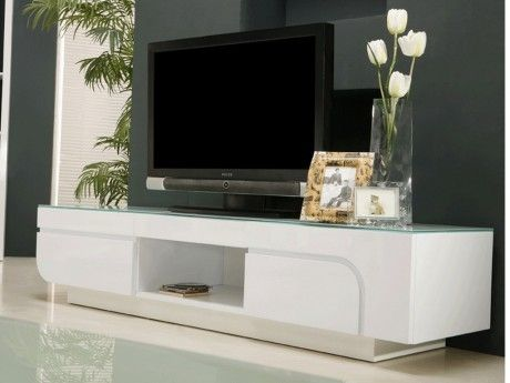 MARQUE GENERIQUE - Meuble TV BRADY - MDF laqué blanc   verre trempé - 2  portes 64cd4667ffa8