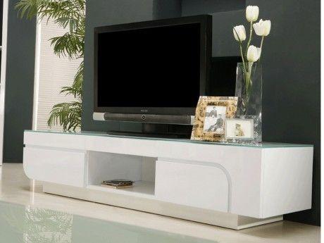 marque generique meuble tv brady mdf laqu blanc verre tremp 2 portes