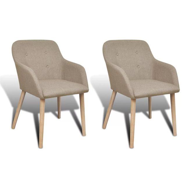 Chaise de salle à manger 2 pcs avec cadre en chêne Tissu Beige 241155 | Beige