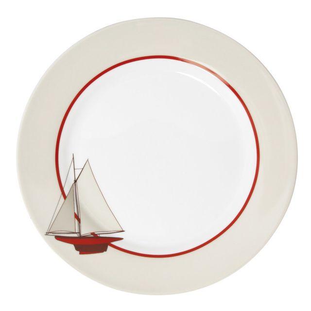 Novastyl Assiette plate en porcelaine D.27cm blanc/rouge - Lot de 6 Voilier
