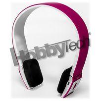 Hobbytech - Casque stéréo Bluetooth qualité Hifi couleur rose + micro intégré