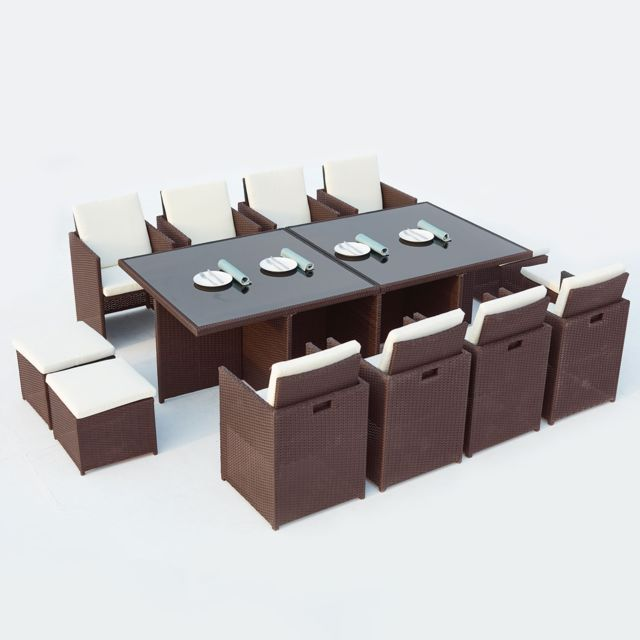 CONCEPT USINE - Monaco 12 : salon de jardin encastrable 12 places en ...