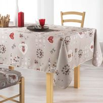 Couleur Montagne - Cdaffaires Nappe rectangle 150 x 240 cm polyester imprime chouetti Lin