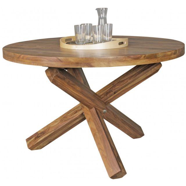 Table A Manger 120 Cm.Table A Manger Ronde Contemporaine 120 Cm En Bois De Sheesham Massif Coloris Naturel Collection C Mares