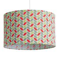 Little Big Room - Suspension cylindre en coton motif feuilles vert/rouge diamètre 35cm Gaspard - Avec câble
