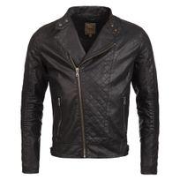 Young And Rich - Veste imitation cuir noir homme Veste Yr425 noir et jeans