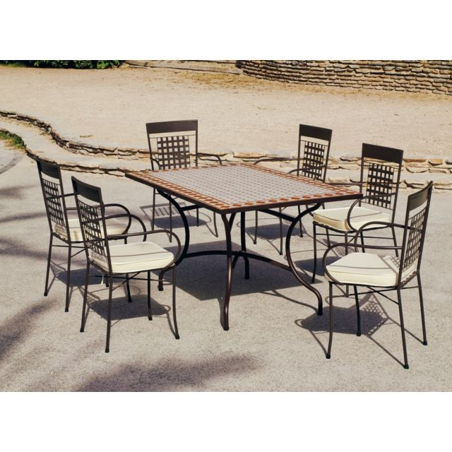 HEVEA JARDIN 1 table mosaïque tons 150 brique et blanc + 6 fauteuils fer forge avec coussins