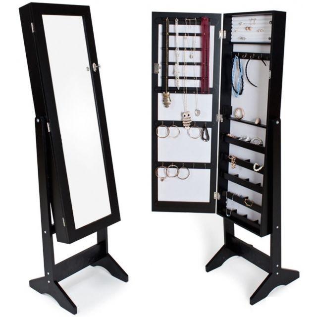 Armoires placard à bijoux bois noir miroir chambre dressing 1408003