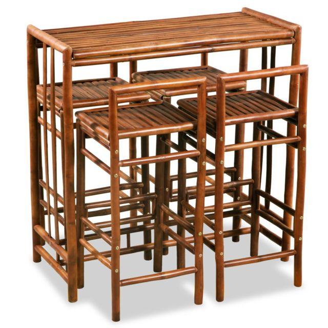 Icaverne Ensembles de meubles de cuisine et de salle à manger categorie Mobilier de salle à manger 5 pcs Bambou Marron