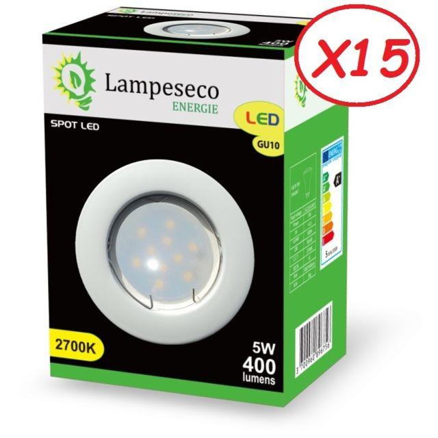 Lampesecoenergie Lot de 15 Spot Led Encastrable Complete Blanc Lumière Blanc Chaud 5W eq.50W ref.267