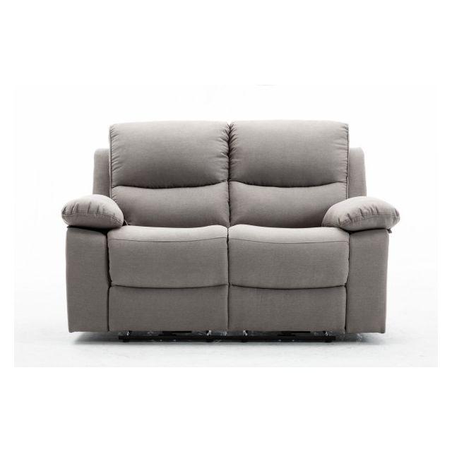 Moloo Keaton-canapé 2 places tissu gris 2 Relax électrique