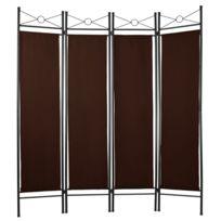 Helloshop26 - Paravent marron tissu 4 panneaux 180 x 160cm décoration 0801002