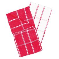 Douceur D'INTERIEUR - 2 Serviettes torchons essuis mains 50 x 70 cm eponge rouge et blanc