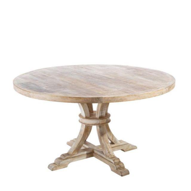 Tousmesmeubles Table de repas ronde Bois blanchi - Meknes