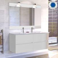 Creazur - Meuble salle de bain double vasque Rosaly 120 - Blanc brillant