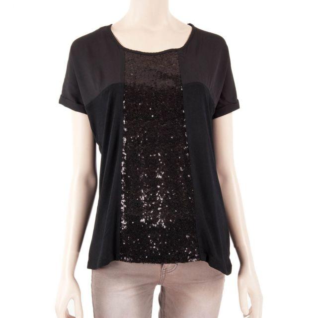 e0218cfccac3 Best Mountain - T-shirt noir sequins femme - pas cher Achat   Vente ...
