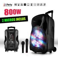 """Party Sound - Enceinte sono mobile amplifiée 800W 15"""" Led/USB/BT/SD/FM + Micros sans-fil/filaire Party15"""