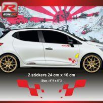 Run-R Stickers - Sticker Renault Sport damier pour Clio Megane Twingo - Aufkleber adesivi - Rouge - Adnauto