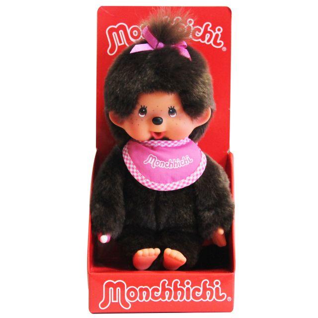 Monchhichi - Peluche Fille avec bavoir tout rose - 20 cm - 25507
