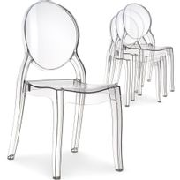 Menzzo - Lot de 4 chaises médaillon Diva Plexi Transparent