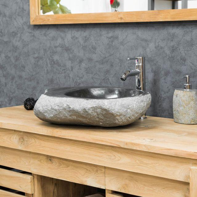 vasque galet Wanda Collection - Vasque à poser en Galet De Riviere 40-45 cm porte savon  - pas cher Achat - Vente Vasque - RueDuCommerce