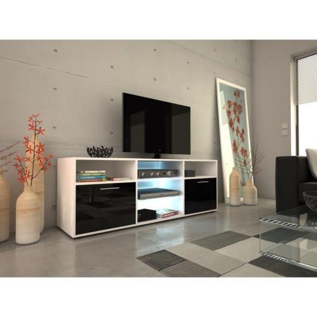 MEUBLE TV - MEUBLE HI-FI KORA Meuble TV contemporain blanc et noir brillant - L 150 cm