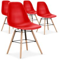 Menzzo - Lot de 4 chaises scandinaves Lisa Rouge