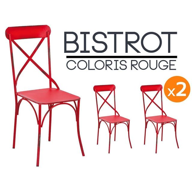 Altobuy bistrot rouge lot 2 chaises bistrot pas cher for Chaise bistrot solde