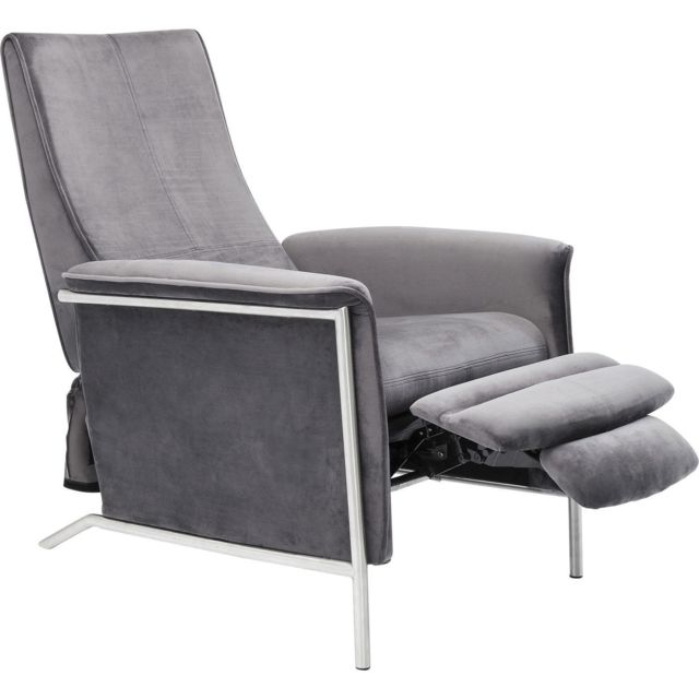 Karedesign Fauteuil relax Lazy velours gris Kare Design