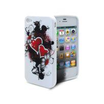 Caseink - Coque iPhone 4S/4 Hearts Tpu Gel Rouge de protection