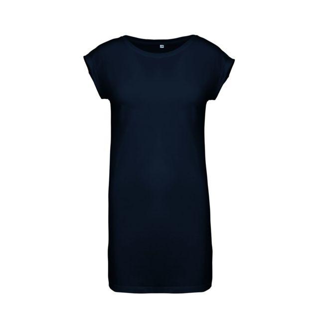 KARIBAN Robe t-shirt col rond manches courtes - K388 - bleu marine - femme