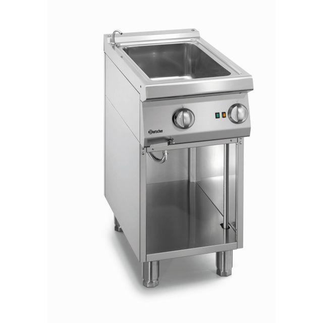 Bartscher Bain Marie electrique 1 cuve avec robinet de remplissage avec soubassement ouvert