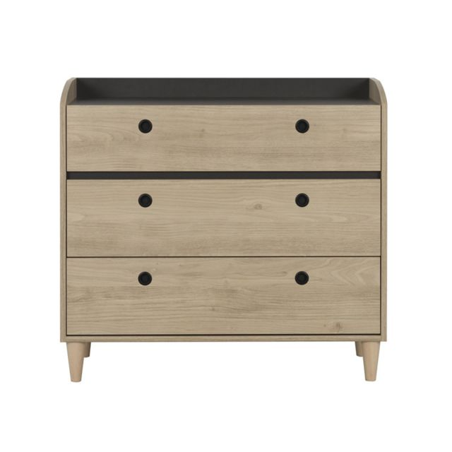 Tousmesmeubles Commode 3 tiroirs - Chana