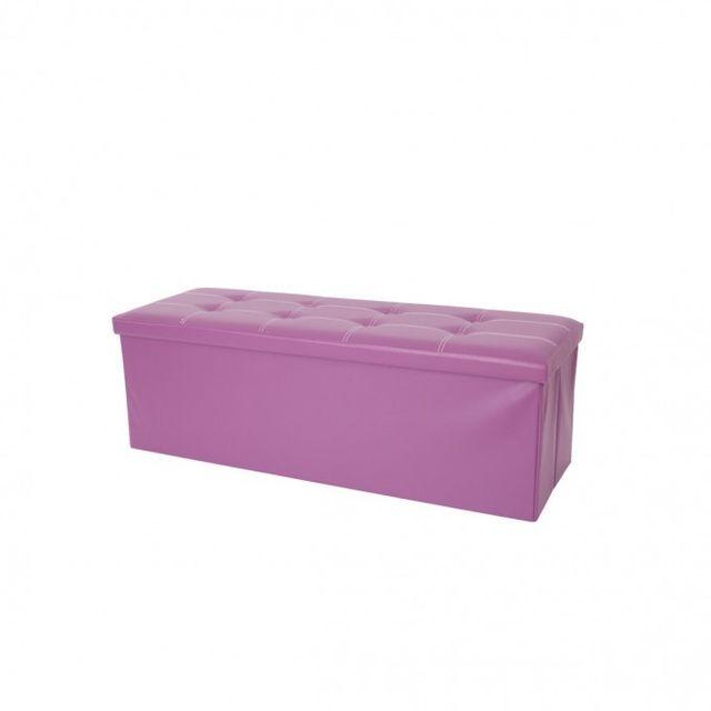 Mobili Rebecca Pouf Boîte de Rangement Banc de Stockage Violet Moderne Bureau