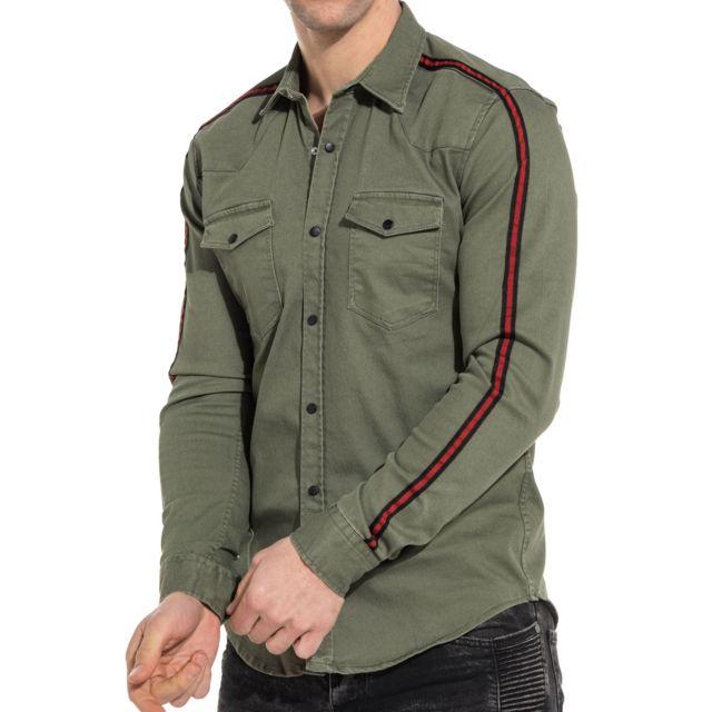 jean Jeans BLZ avec Chemise Achat pas bandes cher en kaki Vert d6dqtTcSwW