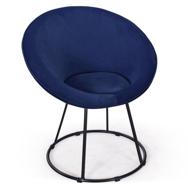 MENZZO Fauteuil Bouli Velours Bleu