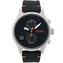 Bossorange - Montre Hugo Boss Orange en Cuir Noir