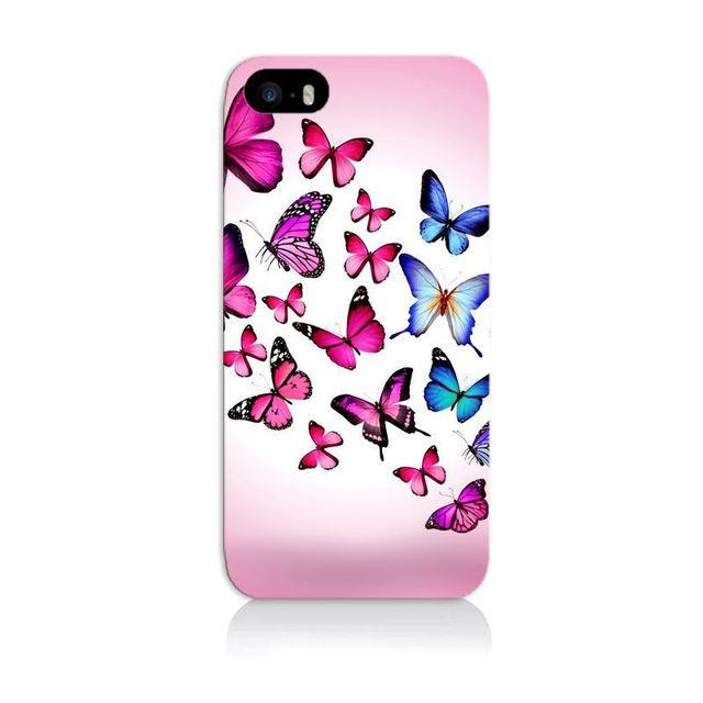 coque iphone 4 4s papillons rose bleu animaux