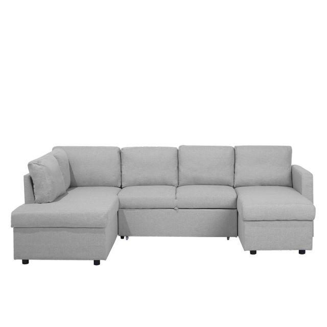 BELIANI Grand canapé gris clair KARRABO - gris clair