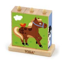 Milly Mally - Puzzle cubes en bois jeu logique Animaux de la Ferme bébé enfant 2ans+ 9 pièces | Multicolore