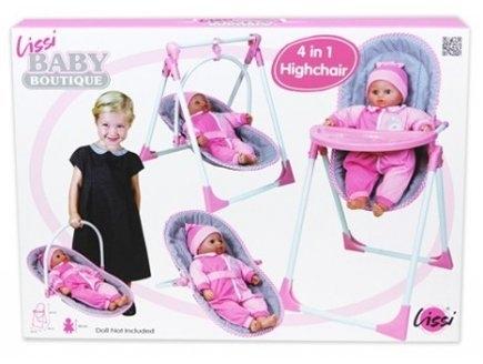 Dolls - 61100 - Chaise Haute 4 En 1 Pour PoupÉE Jusqu'À 40 Cm NON Incluse