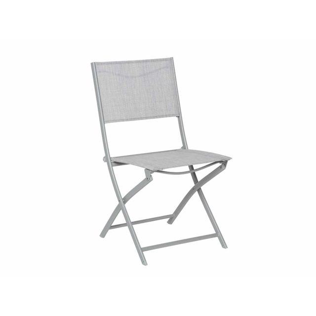 HESPERIDE - Chaise de jardin pliante métal Modula Gris chiné/Gris mat 1