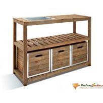 Jardipolys - Table de préparation en bois et acier galva Choko