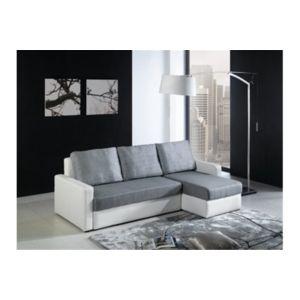 Chloe Decoration - Canapé d\'angle convertible mathis - gris et blanc ...