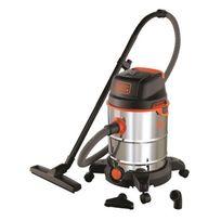 Black & Decker - Aspirateur eau et poussiere sur roues 1600 W cuve en inox 30 L