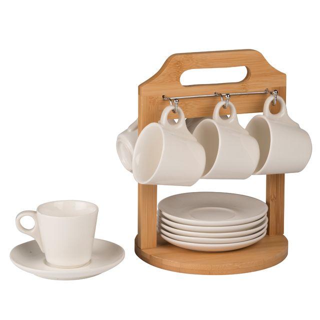 MAISON FUTEE Support présentoir bambou - 6 soucoupes & 6 tasses à café