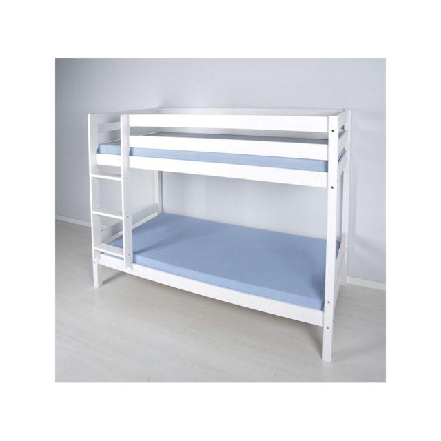 Befara Lit Superpose En Bois Fantasia - Blanc - 90 x 190 blanc - Sans lit gigogne - Sans tiroirs