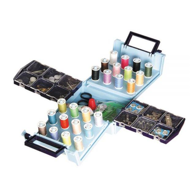 JOCCA Boîte à couture de voyage repliable - 138 accessoires dont 24 bobines de couleur