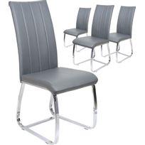Comforium - Lot de 4 chaises de table simili cuir gris