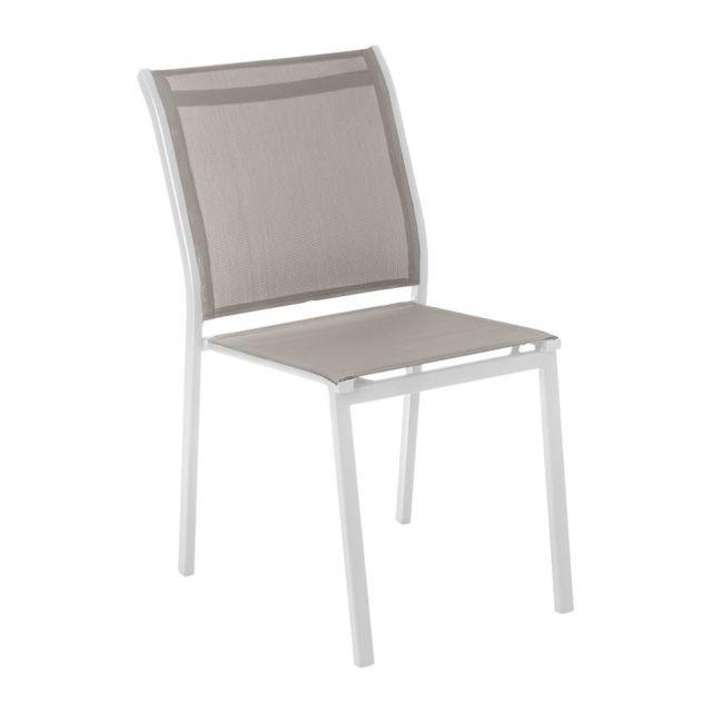 HESPERIDE - Chaise extérieur Essentia blanc/noisette ...